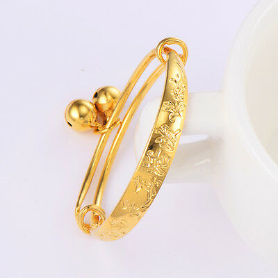 Kids child Bell bracelet infant newborn jewelry 18K  gold filled Adjustable