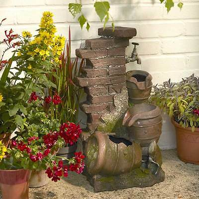 3 Tier Jug Illuminated Cascading Garden Fountain Water Feature