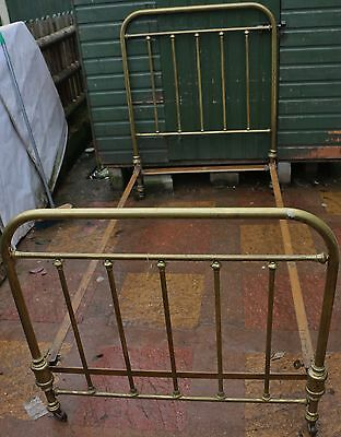 Super Looking Very Old Brass Single Bed Frame To Tidy Up Or Restore