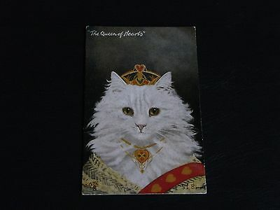 G.l. Barnes Signed Tuck Cat Postcard - Anthropomorphic - The Queen Of Hearts.