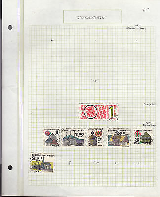 CZECHOSLOVAKIA 1970-71 Collection On old Album Page VFU Removed for Ship.(s)