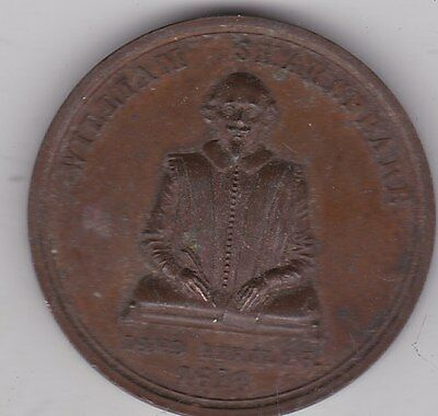 1842 William Shakespeare Bronze Medal In Near Mint Condition