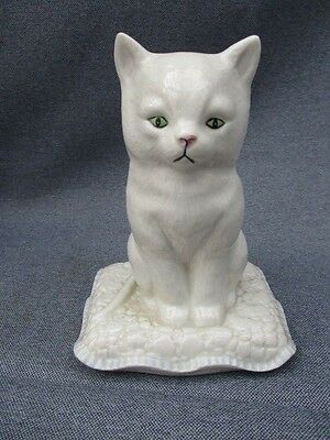 Irish Parianware Donegal China  Cat On A Cushion