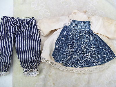 Alte Puppenkleidung Apron Dress Outfit vintage Doll clothes 40 cm Girl