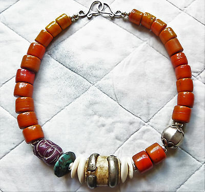 Antique Tibetan Rare Orange Shepa Coral, Ancient Shell and Turquoise Necklace