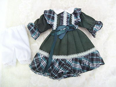 Alte Puppenkleidung Green Frilly Dress Outfit vintage Doll clothes 30 cm Girl
