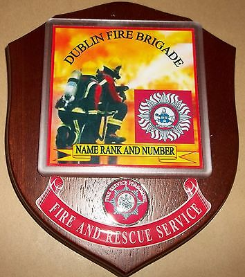 Southern Ireland Dublin Fire Brigade wall plaque personalised free of charge.