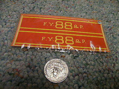 American Flyer decals S Gauge F.Y. 88 and P.    L122