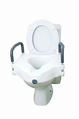 Drive Medical 12027RA 2 in 1 Elevated Toilet Seat with Removable Arms