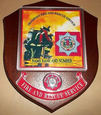 Grampian Fire and Rescue Service wall plaque personalised free of charge.