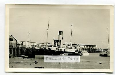 """Paddle steamer """"Freshwater"""" at unknown quay - old postcard-sized photo"""