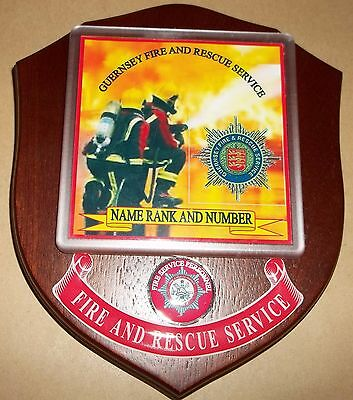 Guernsey Fire and Rescue Service wall plaque personalised free.