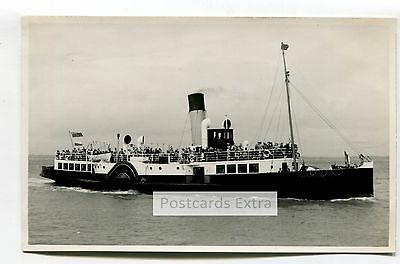 """Paddle steamer """"Freshwater"""" at sea with passengers - old postcard-sized photo"""