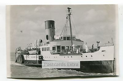 """Paddle steamer """"Sandown"""" at sea with passengers - old postcard-sized photo"""