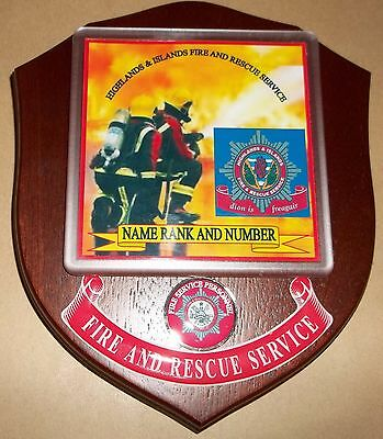 Highlands & Islands Fire and Rescue Service wall plaque personalised free.