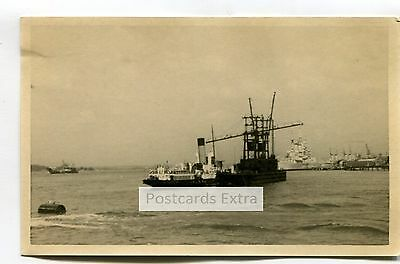 """Paddle steamer """"Merstone"""" at Portsmouth, 1947 - old postcard-sized photo"""