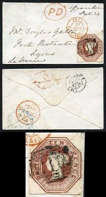 10d Embossed on Small Envelope to France