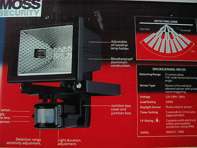 Moss Security MS135 automatic 500W halogen floodlight