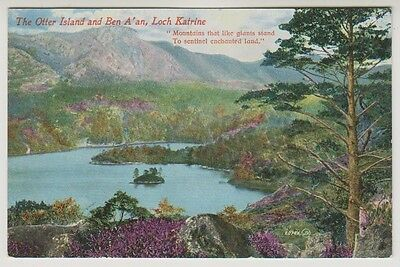 Stirlingshire postcard - The Otter Island and Ben A'An, Loch Katrine