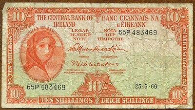 1966 Central Bank Of Ireland : 10 Shillings