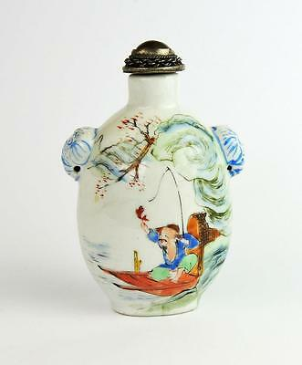 CHINESE Antique PORCELAIN SNUFF BOTTLE Fishermen in Boats