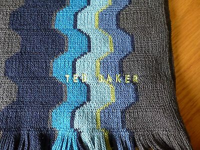 Ted Baker Mens Scarf Blue/grey New With Tags