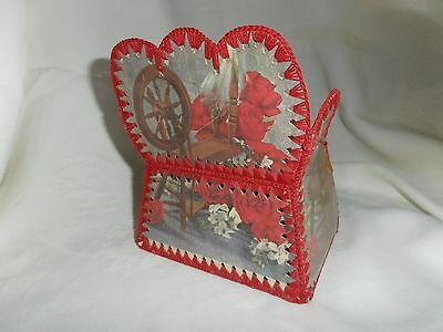 Signed & Dated~1937~Handcrafted~Spinning Wheel~Card Box/chair~V/g/cond.