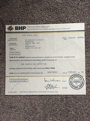 B H P Dated 1986 121 Shares Invalid Share Certificate
