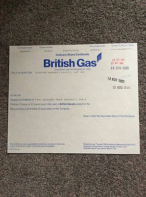 British Gas Dated 1993 5310 Shares Invalid Share Certificate