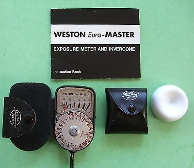 Weston Euro Master & Invacone  Exposure Meter.in Leather cases + Instructions