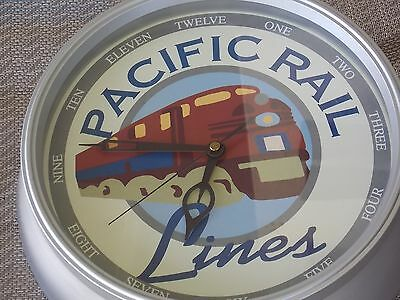 """Pacific Rail Lines Wall Clock 11"""" Round, Railroad Decor, Battery Operated"""