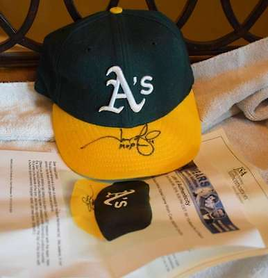 Jason Giambi Signed Jsa Certified Mears Letter Game Used A`s Hat