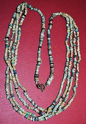 Ancient Excavated Egyptian Faience Ceramic Glass Dig Mummy Beads Necklace Africa