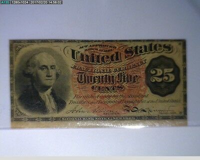 1863 25C Fractional Currency Washington Bust Fourth Issue ( 66-208 )