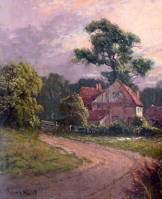 Original victorian Frank Hider oil painting, rural scene with cottages.