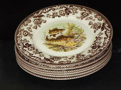 "SET Of 6 Spode Woodland WALLEYE North American Fish 9.25"" SALAD PLATES England"