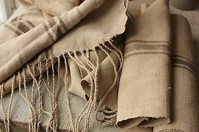 RARE BROWN  striped fabric Vintage GRAIN SACK fabric material 8.1  yards BROWN