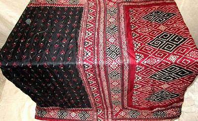 Black Maroon Pure Silk 4 yd Vintage Sari Saree Pattern for sale Festive #ADXJC