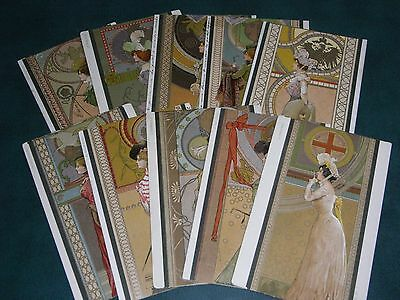 Rare Set Of Ten Arpad Basch Signed Art Nouveau Glamour Embossed Postcards, Ladys