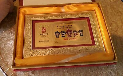 2008 Beijing Olympic Official Product Gold Plated Plaque Friendlies Mascots Rare