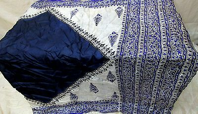Navyblue Off-white Pure Silk 4 yard Vintage Sari Saree Tablecloth Womens #ADXLQ