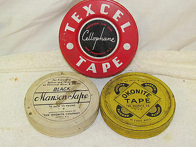 Lot of 3 Vintage Tape Tin Containers 2 Okonites and 1 Texcel