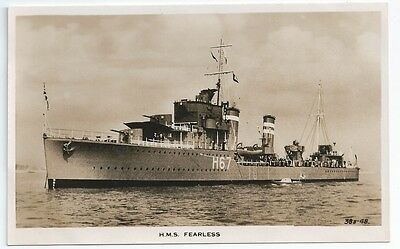 HMS FEARLESS F-class Destroyer Royal Navy Unused Real Photo Postcard