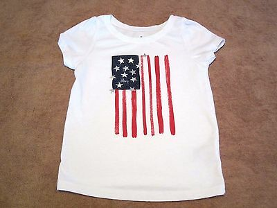 Baby Girls Toddler Circo Flag White Graphic Short Sleeve T-Shirt Size 3T