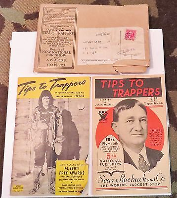 2 Vtg TIPS TO TRAPPERS Johnny Muskrat Sears 1933-34/1939-40 ONEIDA VICTOR Traps