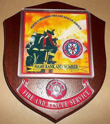 North Yorkshire Fire and Rescue Service wall plaque personalised free of charge.