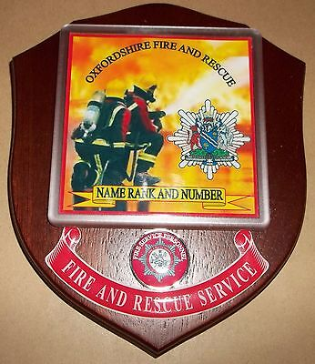 Oxfordshire Fire and Rescue Service wall plaque personalised free of charge.