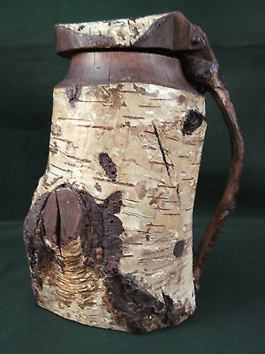 Primitive Native American Hand Made Birch Bark Tankard