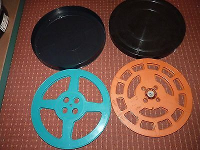 2x 1600FT  cecolite orange, X 1 AND ONE BLUE    16mm film spools in a 35mm can