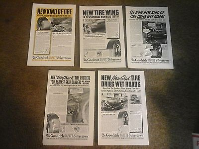 Vtg Ad lot (5 ads) THE GOODRICH SAFETY SILVERTOWN TIRES -  All from 1938
